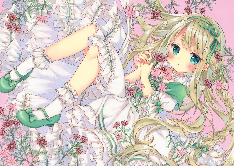aqua_eyes blonde_hair blush braids dress flowers loli lolita_fashion long_hair original puu_(kari---ume) socks
