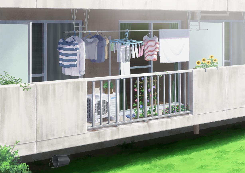 building flowers grass hirose_yuki nobody original scenic shirt socks sunflower towel
