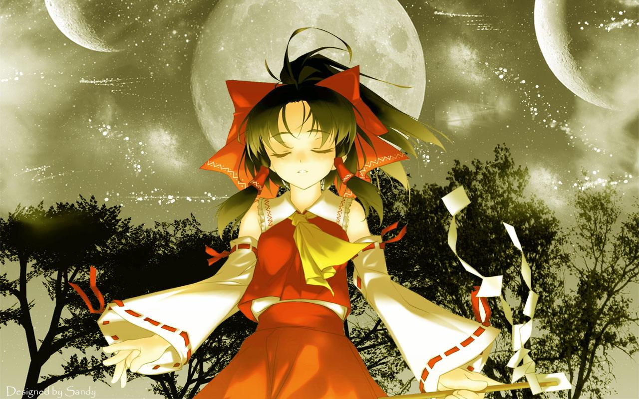 black_hair hakurei_reimu japanese_clothes jpeg_artifacts miko moon ribbons rokuwata_tomoe touhou tree