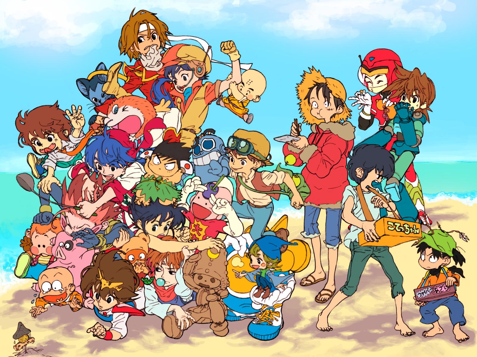 beach blue_cube cooking_master_boy crossover dash_kappei dragonball food ginga_tetsudo_no_yoru giovanni_(ginga_tetsudo_no_yoru) goggles group hat ikusabe_wataru itadakiman kappei kirishima_kanna koenma kuririn laputa:_castle_in_the_sky liu_mao_hsing mashin_hero_wataru mojakou monkey_d_luffy nangoku_shonen_papuwa-kun nintama_rantaro one_piece papuwa pazu_(laputa) rockman rockman_(character) saint_seiya sakura_taisen settsuno_kirimaru twinbee_paradise yu_yu_hakusho