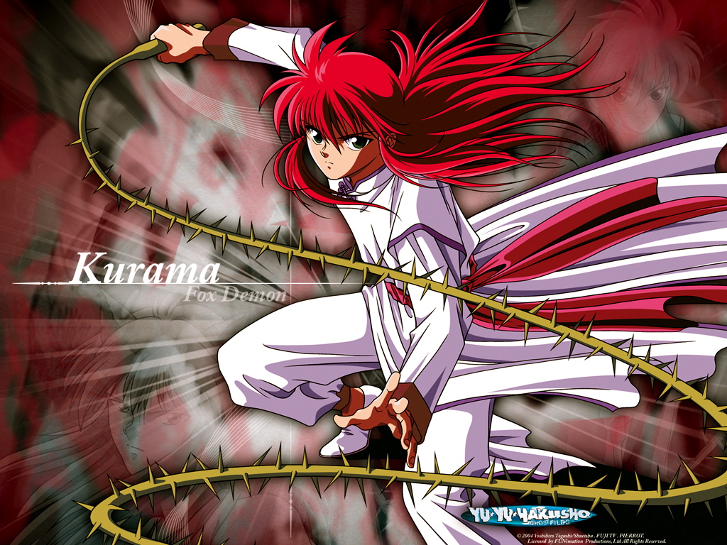all_male green_eyes kurama long_hair male red_hair weapon youko_kurama yu_yu_hakusho