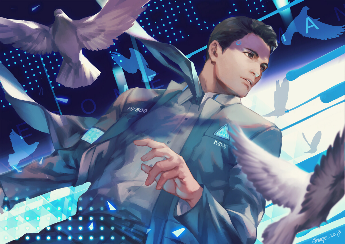 all_male animal bird brown_eyes brown_hair connor_(detroit:_become_human) detroit:_become_human h@ge male robot short_hair signed suit tie