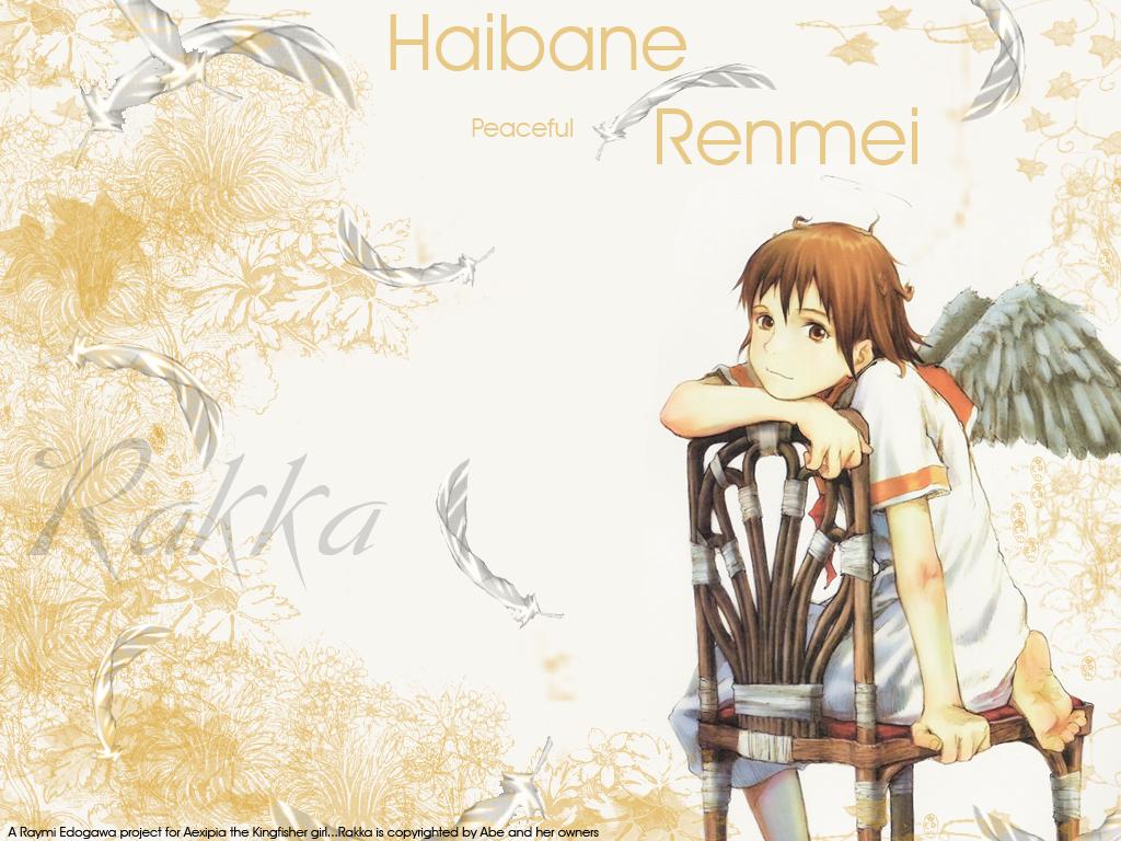 barefoot brown_eyes brown_hair feathers haibane_renmei halo rakka watermark wings