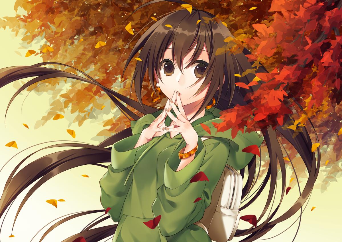 autumn brown_eyes brown_hair hoodie kirisita leaves long_hair original wristwear