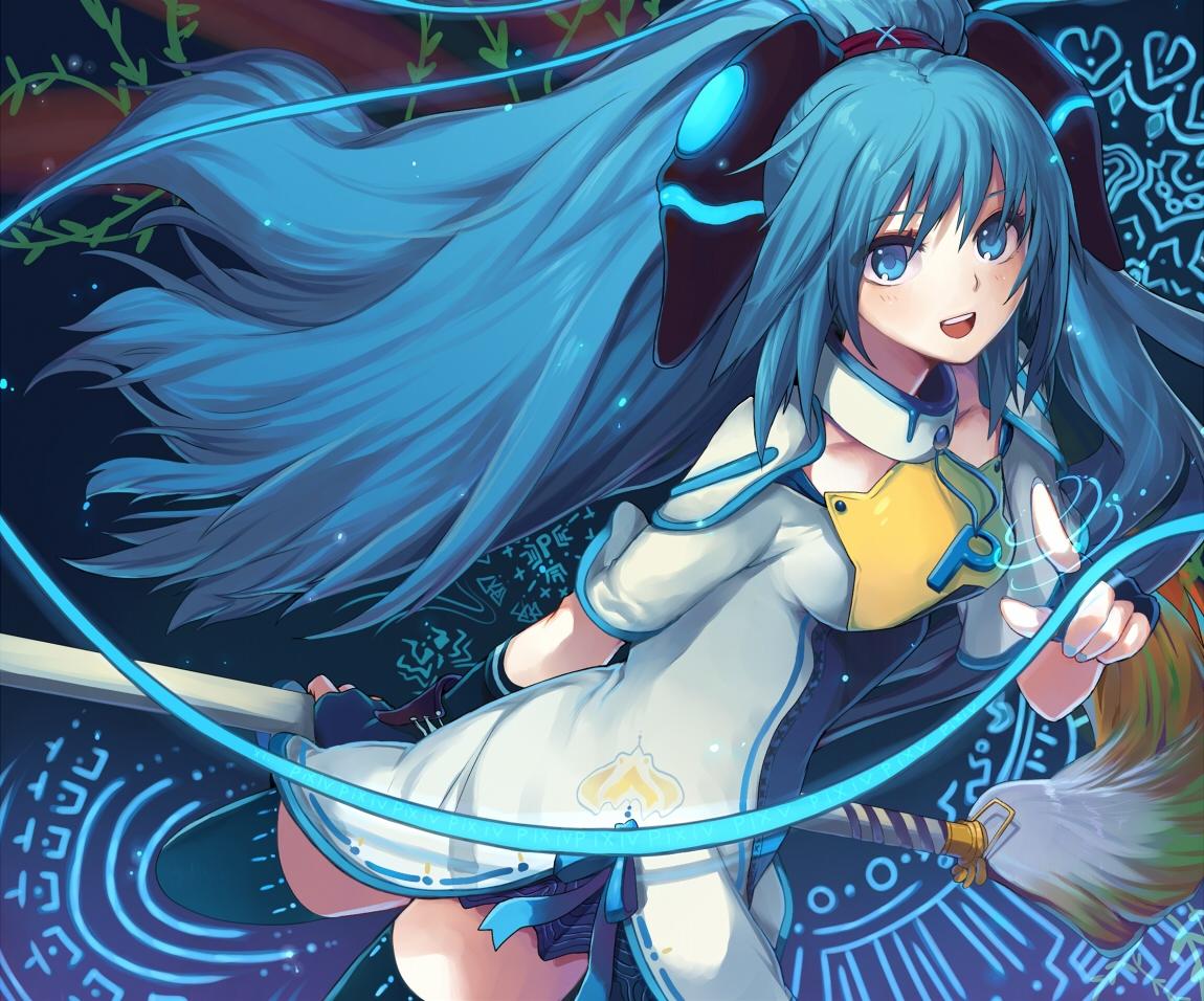 aki_(mare_desiderii) blue_eyes blue_hair gloves long_hair pixiv-tan thighhighs