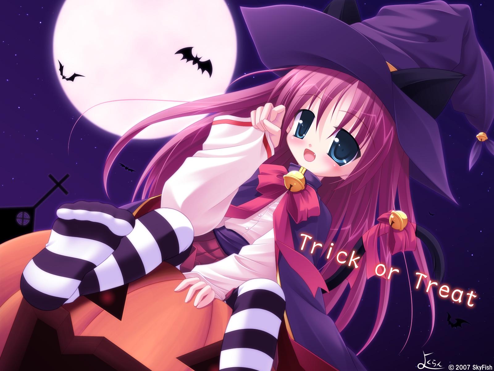 animal animal_ears bat bell bow catgirl choker fang halloween hat loli long_hair moon night pumpkin purple_hair ribbons sky skyfish thighhighs tsubasa_tamago witch