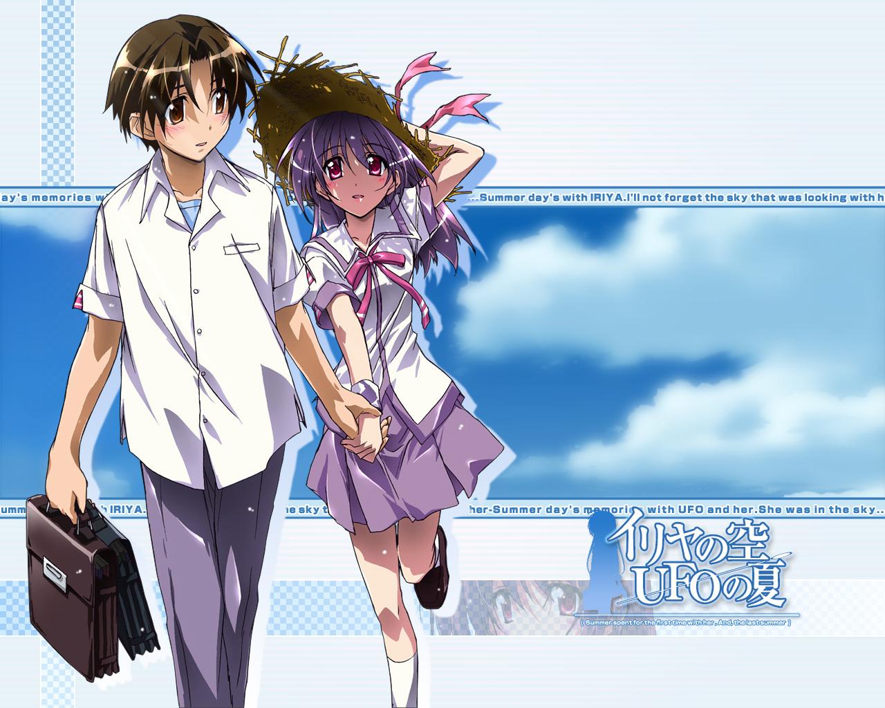 asaba_naoyuki bow clouds hat iriya_kana iriya_no_sora_ufo_no_natsu purple_hair red_eyes school_uniform sky watermark