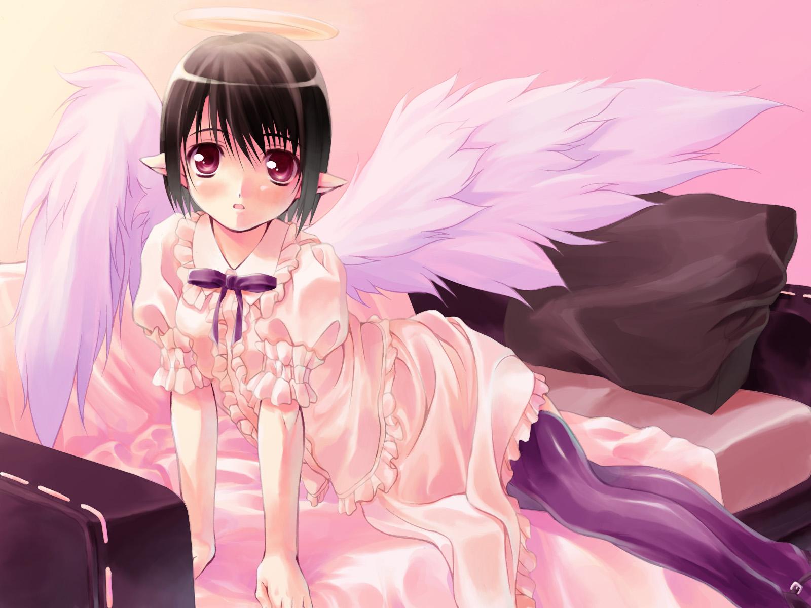 angel bed black_hair halo pointed_ears purple_eyes ribbons tagme_(artist) thighhighs wings