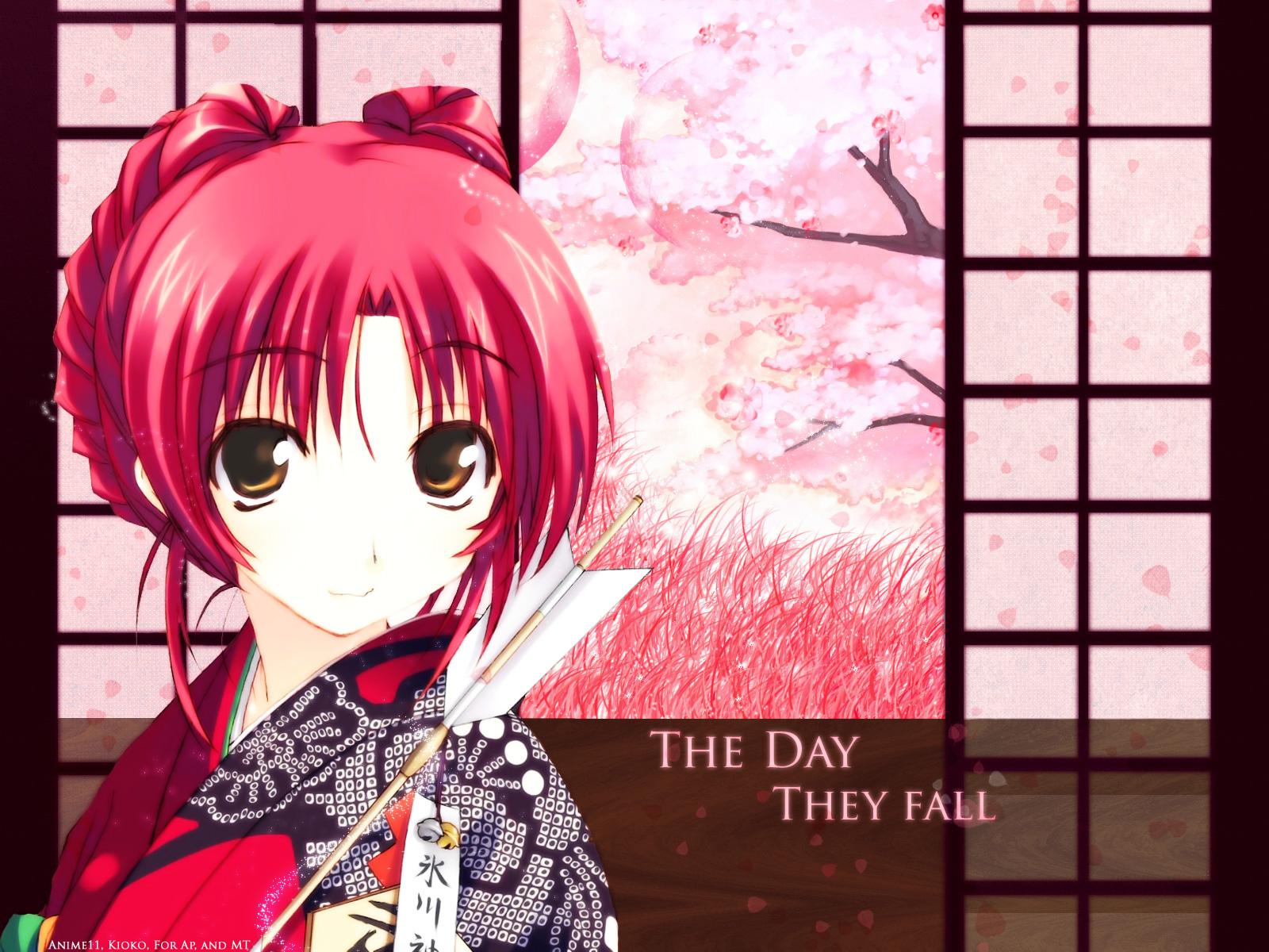 amaduyu_tatsuki aquaplus cherry_blossoms flowers japanese_clothes kimono kousaka_tamaki leaf petals red_hair to_heart to_heart_2