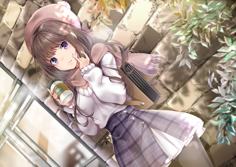 akatsuki_hijiri aliasing brown_hair drink hat huion original pantyhose purple_eyes scarf skirt