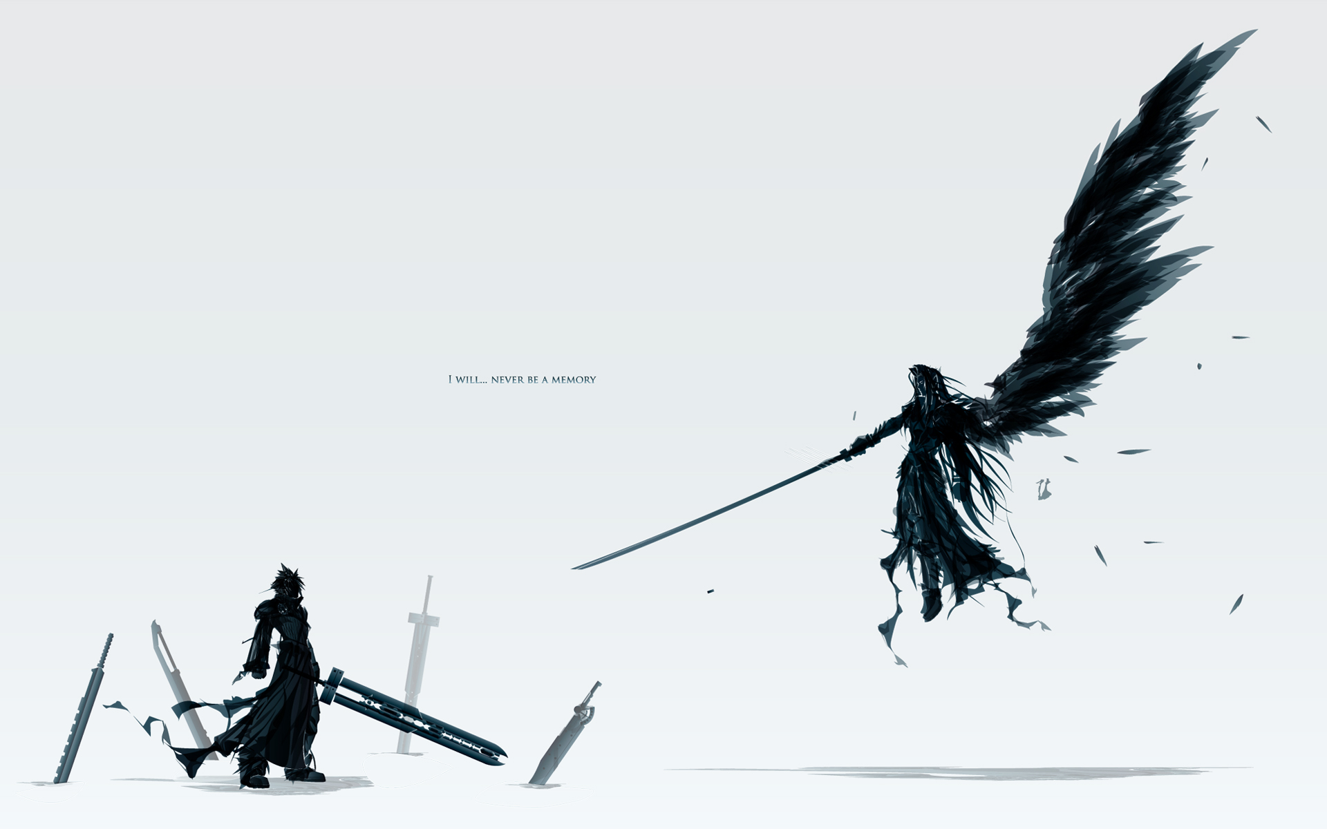 cloud_strife final_fantasy final_fantasy_vii final_fantasy_vii_advent_children katana polychromatic sephiroth sword weapon white wings