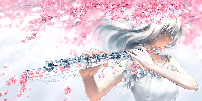 cherry_blossoms flowers flute instrument long_hair original petals watermark wenqing_yan_(yuumei_art) white_hair