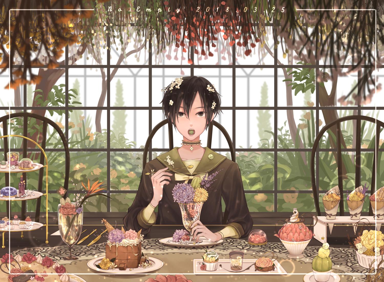 all_male black_eyes black_hair cake choker flowers food ice_cream male no.empty original seifuku short_hair signed tree