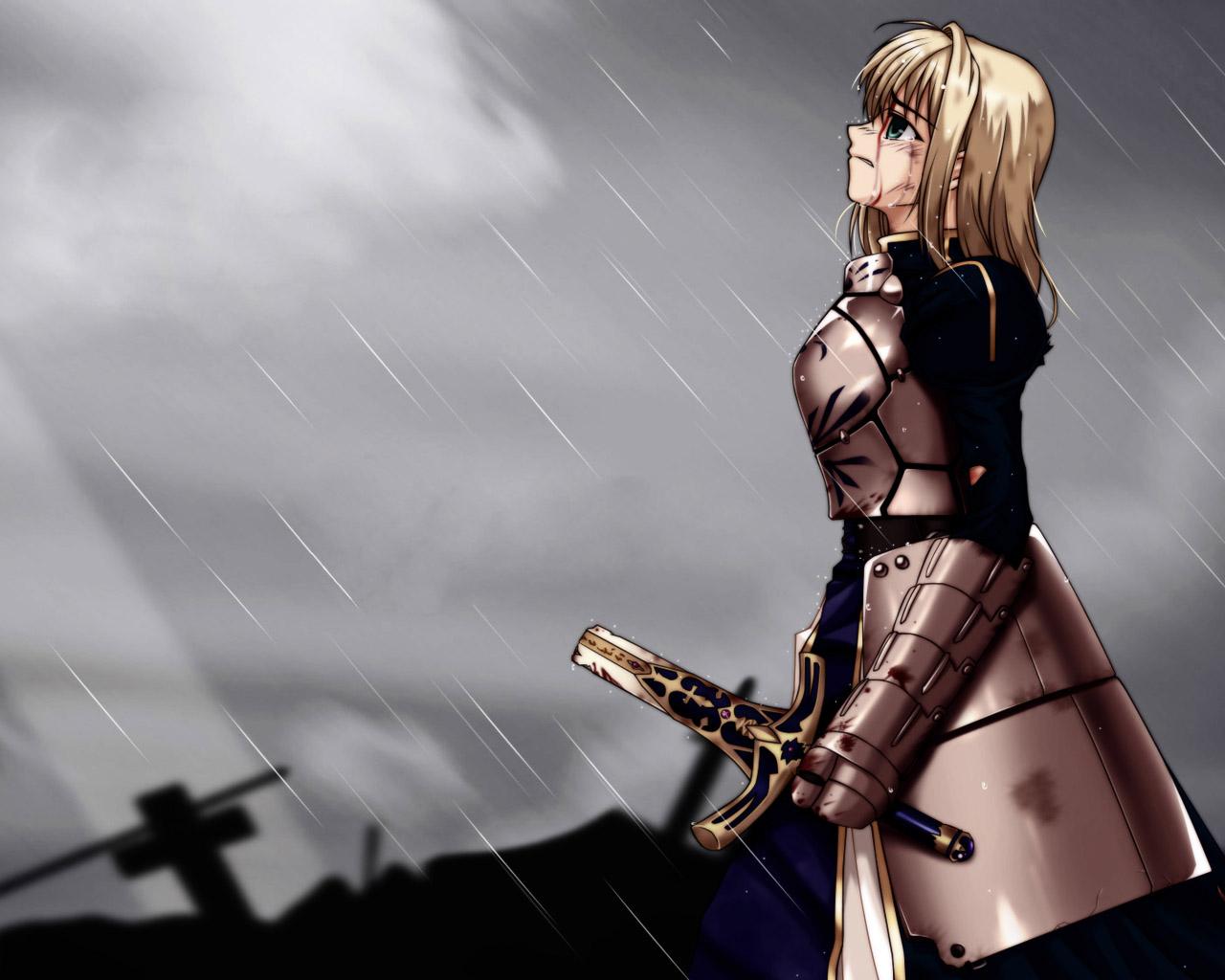 artoria_pendragon_(all) blood fate_(series) fate/stay_night rain saber sword water weapon