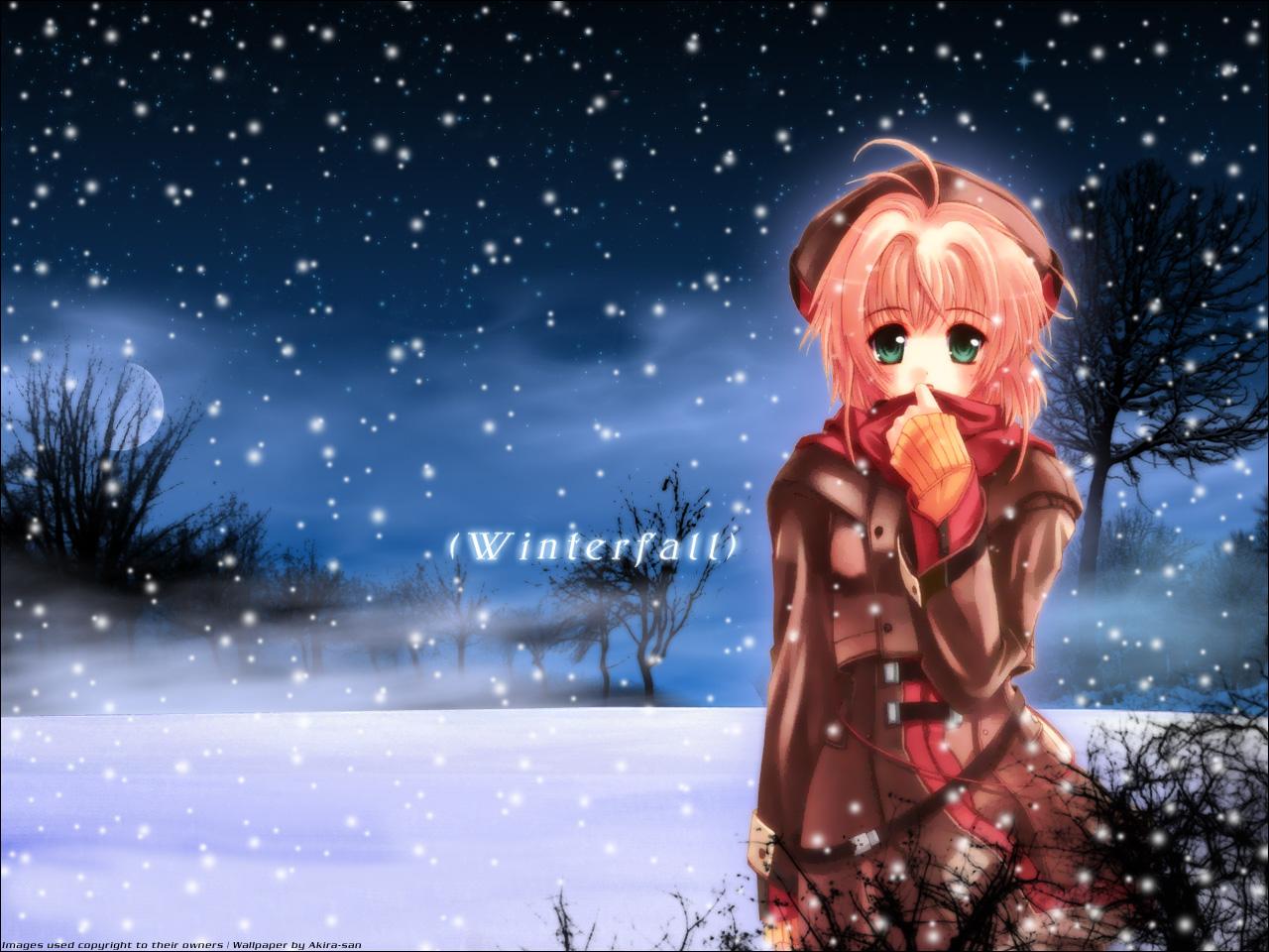 card_captor_sakura kinomoto_sakura snow winter