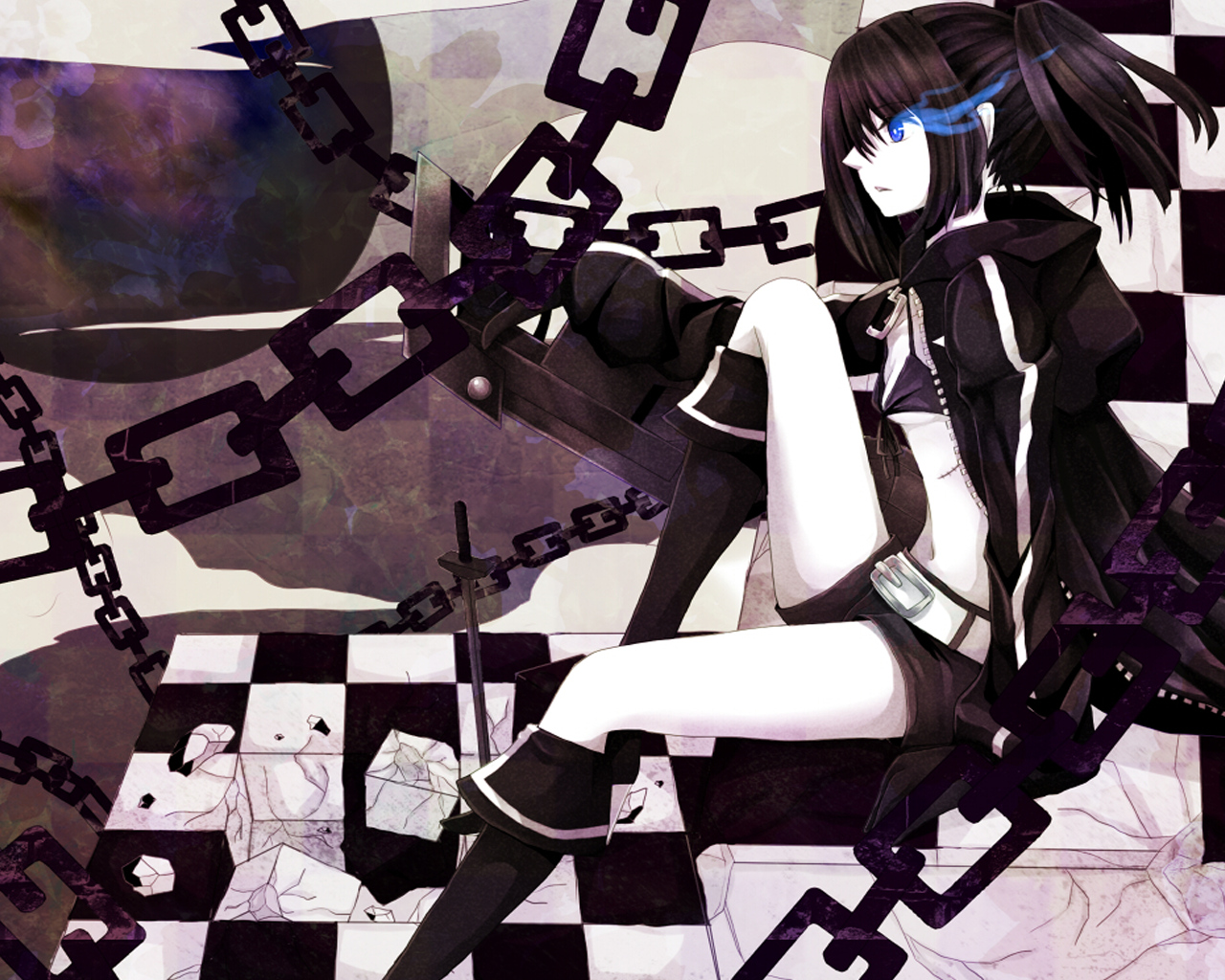 black_hair black_rock_shooter blue_eyes chain kuroi_mato scar sword weapon