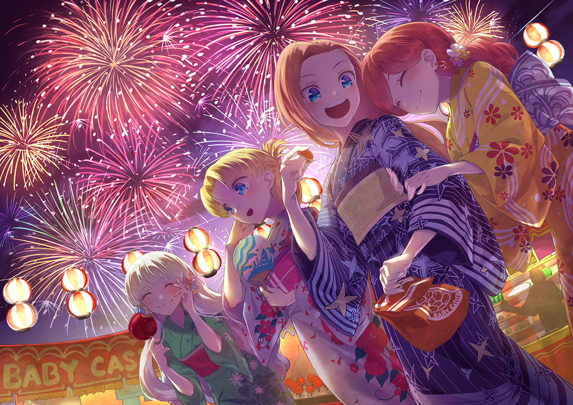 apple blonde_hair blue_eyes candy dog_man_cat fan festival fireworks food fruit group japanese_clothes katarina_claes long_hair maria_campbell mary_hunt orange_hair otome_game_no_hametsu_flag_shika_nai_akuyaku_reijou_ni_tensei_shite_shimatta red_hair short_hair shoujo_ai sophia_ascart summer watermelon white_hair yukata