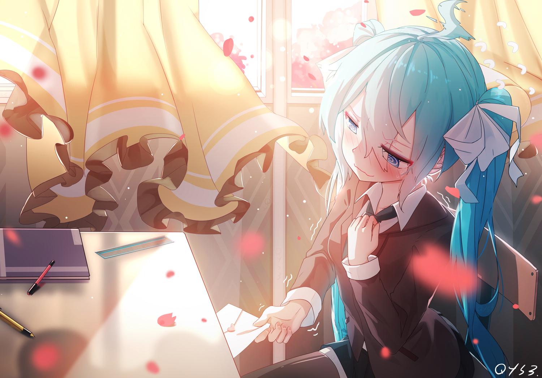 aqua_hair bai_yemeng blue_eyes blush bow hatsune_miku long_hair petals school_uniform signed thighhighs twintails vocaloid