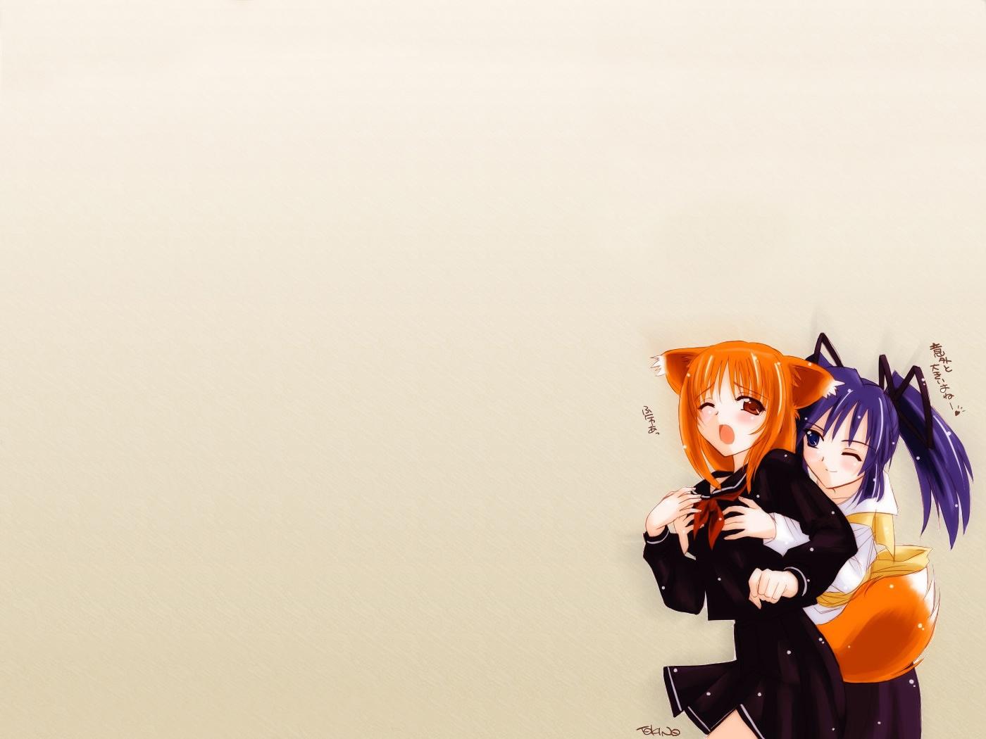 animal_ears anthropomorphism firefox foxgirl hana_(ukagaka) kuro_(ukagaka) school_uniform tokino ukagaka