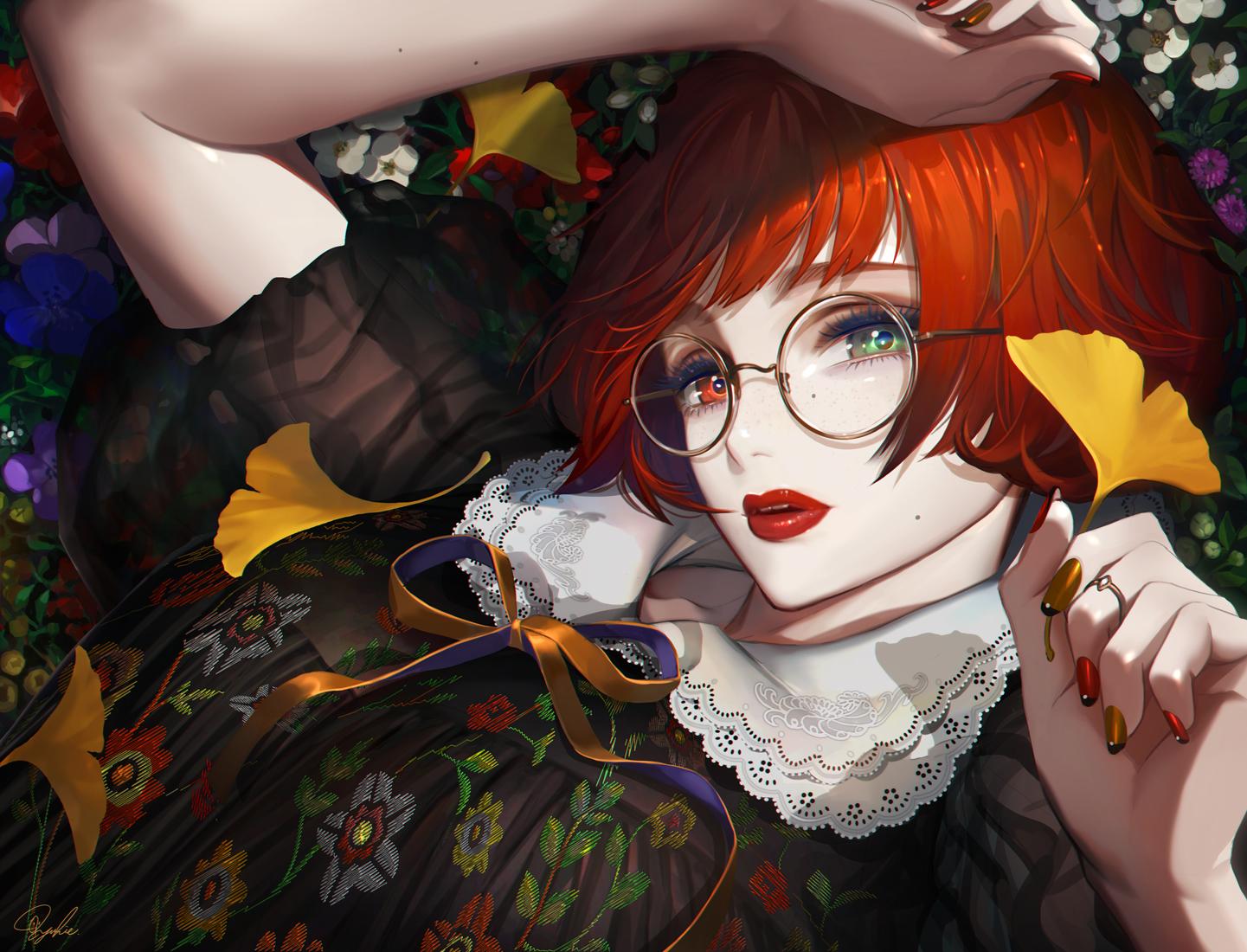 bicolored_eyes close flowers glasses leaves original red_hair see_through short_hair signed tajima_yukie