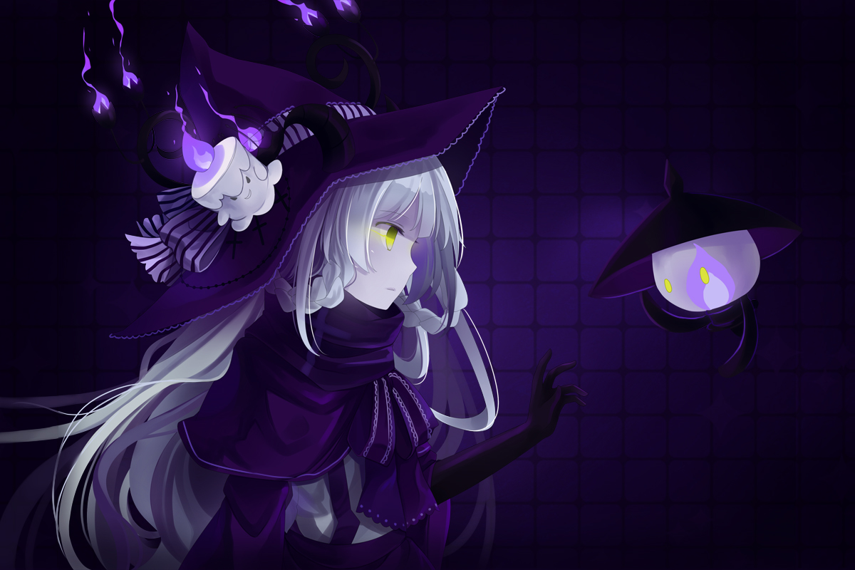 gloves green_eyes hat hitsukuya horns lampent litwick pokemon purple white_hair witch witch_hat