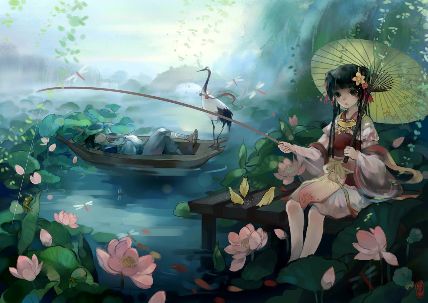 animal bird black_hair boat bow braids chinese_clothes flowers frog jpeg_artifacts karas_5812 long_hair original petals ribbons sleeping umbrella water