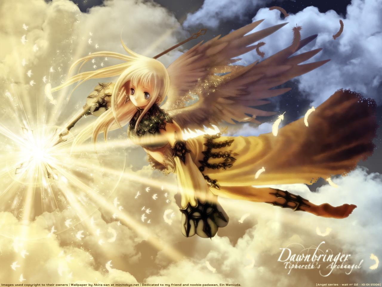 angel animal bird blonde_hair clouds feathers long_hair mizusawa_hikaru purple_eyes sky staff wings