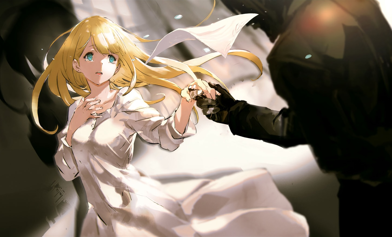 blonde_hair blue_eyes cropped dress long_hair male overlord sebas_tian so-bin tuareninya_veyron