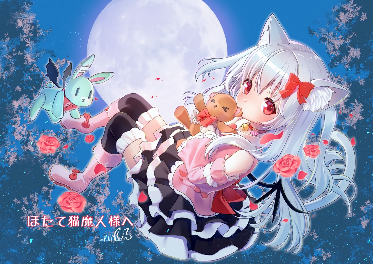 animal_ears bell boots bow collar flowers gray_hair loli lolita_fashion long_hair mitake_eiru moon night red_eyes rose signed skirt sky tagme_(character) tail teddy_bear thighhighs vrchat wings zettai_ryouiki