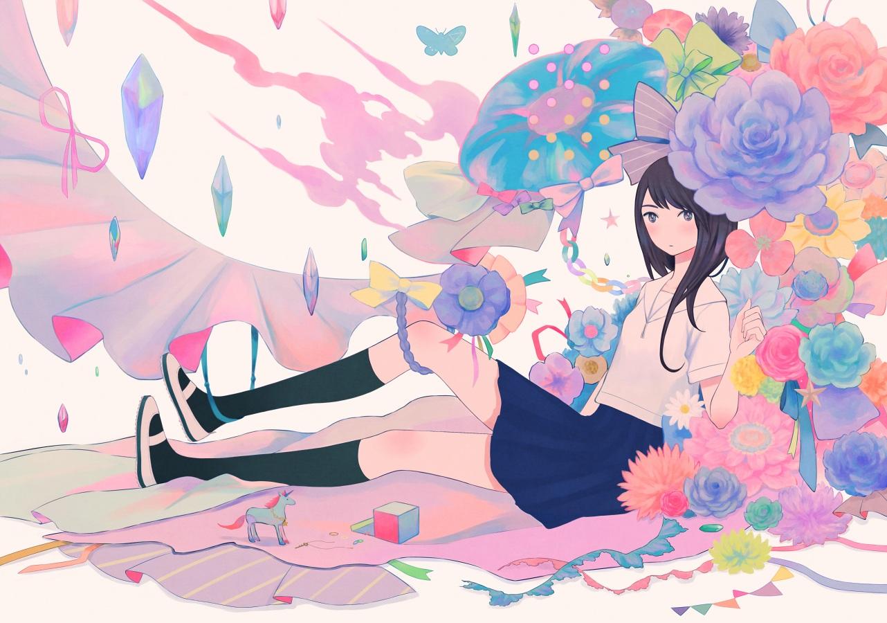 black_hair flowers kneehighs original ribata school_uniform skirt