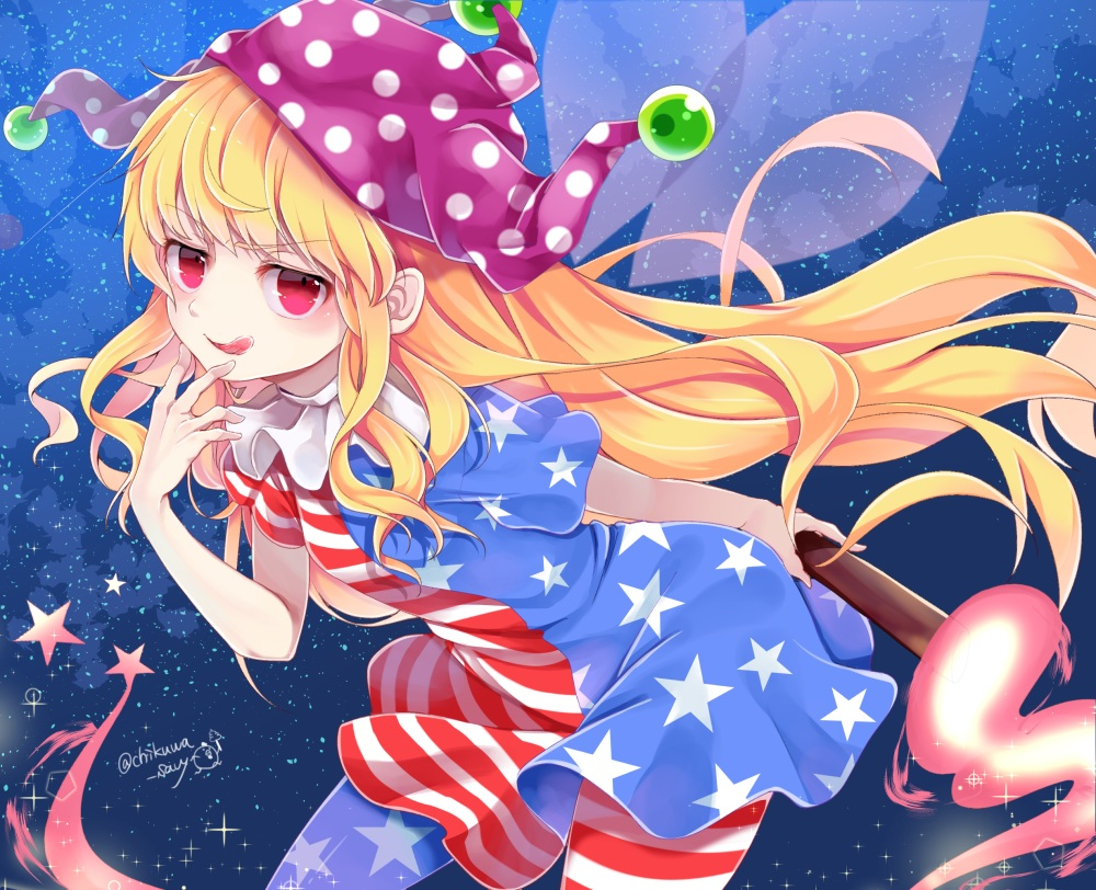 blonde_hair chikuwa_savi clownpiece dress fairy fire hat long_hair red_eyes signed stars touhou wings