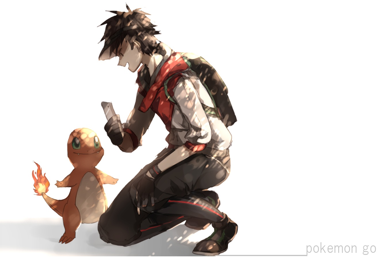 charmander male_protagonist_(pokemon_go) pokemon tsugutoku