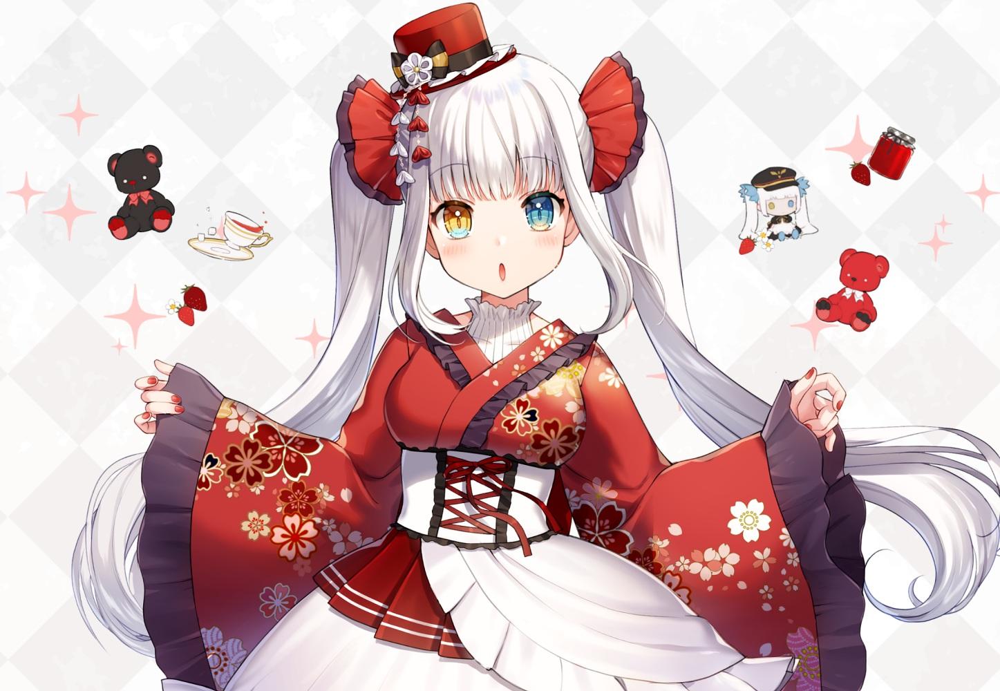 bicolored_eyes blush chibi dress drink hat japanese_clothes kagura_mea kagura_mea_channel lolita_fashion long_hair momoshiki_tsubaki teddy_bear white_hair