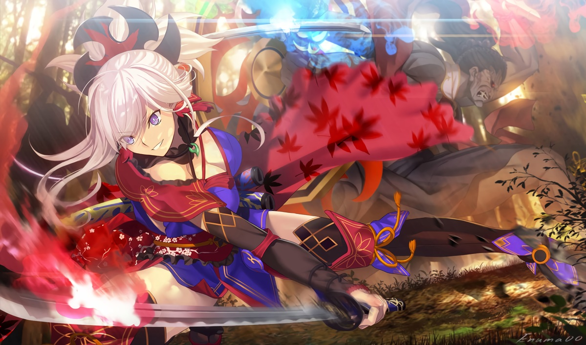 aora boots breasts cleavage fate/grand_order fate_(series) japanese_clothes katana miyamoto_musashi_(fate/grand_order) pink_hair purple_eyes short_hair signed sword weapon