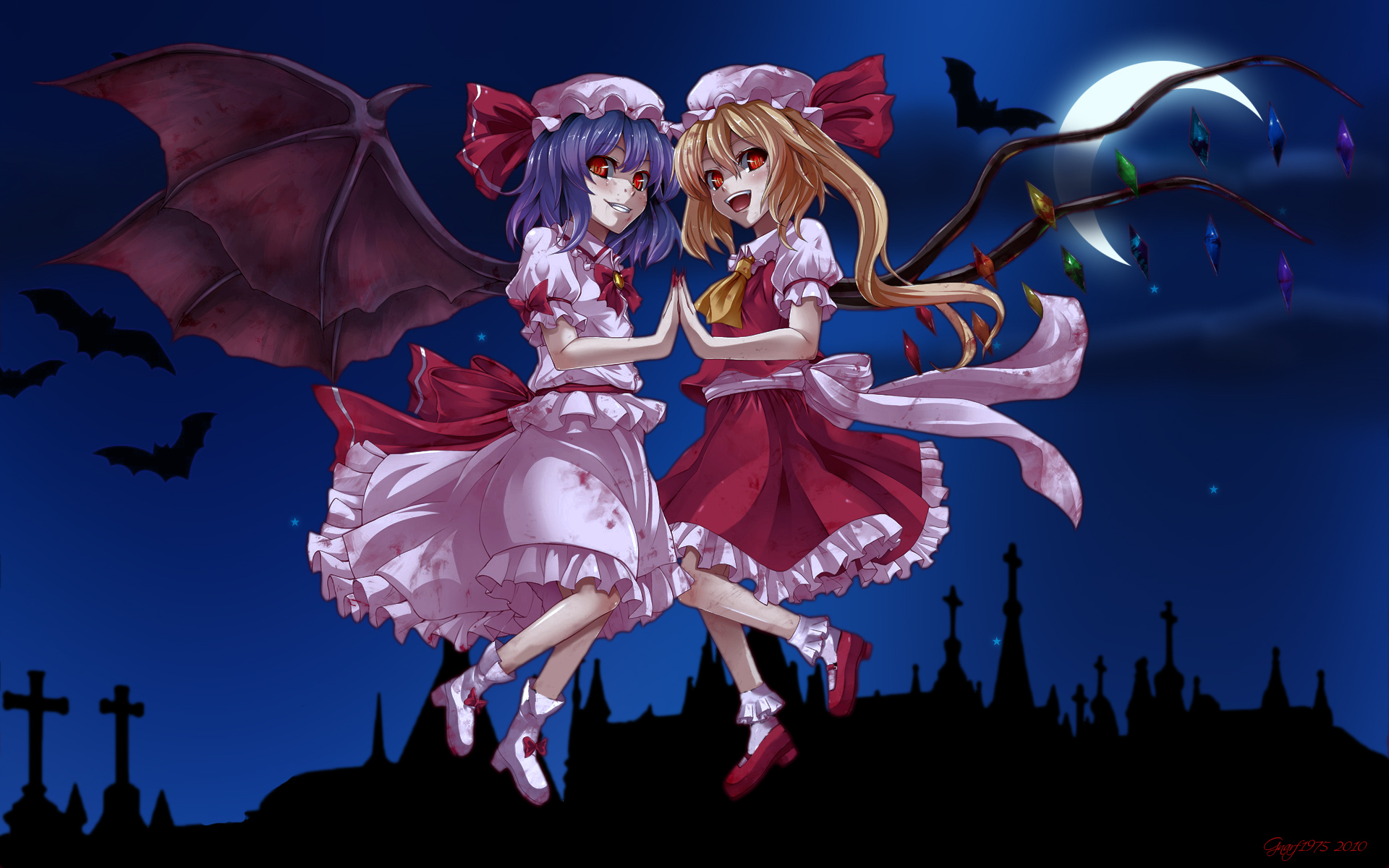 2girls animal asu_hare bat blonde_hair blood dress flandre_scarlet hat moon night photoshop ponytail purple_hair red_eyes remilia_scarlet short_hair signed touhou vampire wings