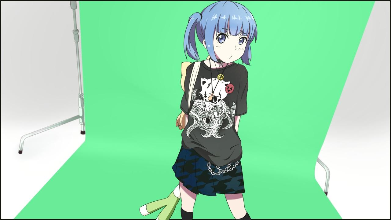 blue_eyes blue_hair chain green kneehighs leek loli necklace original servachok short_hair skirt twintails
