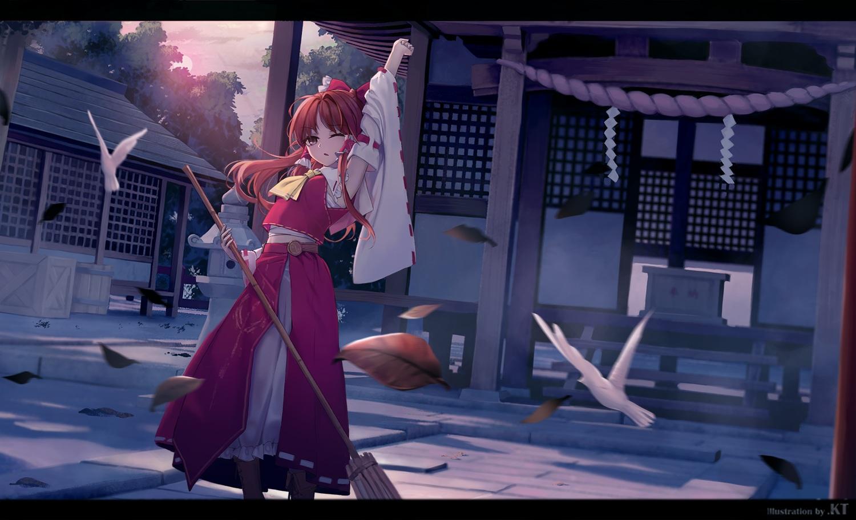 animal bird boots brown_eyes brown_hair hakurei_reimu japanese_clothes kin_toki leaves long_hair miko rope sarashi shrine sunset touhou underwear watermark wink