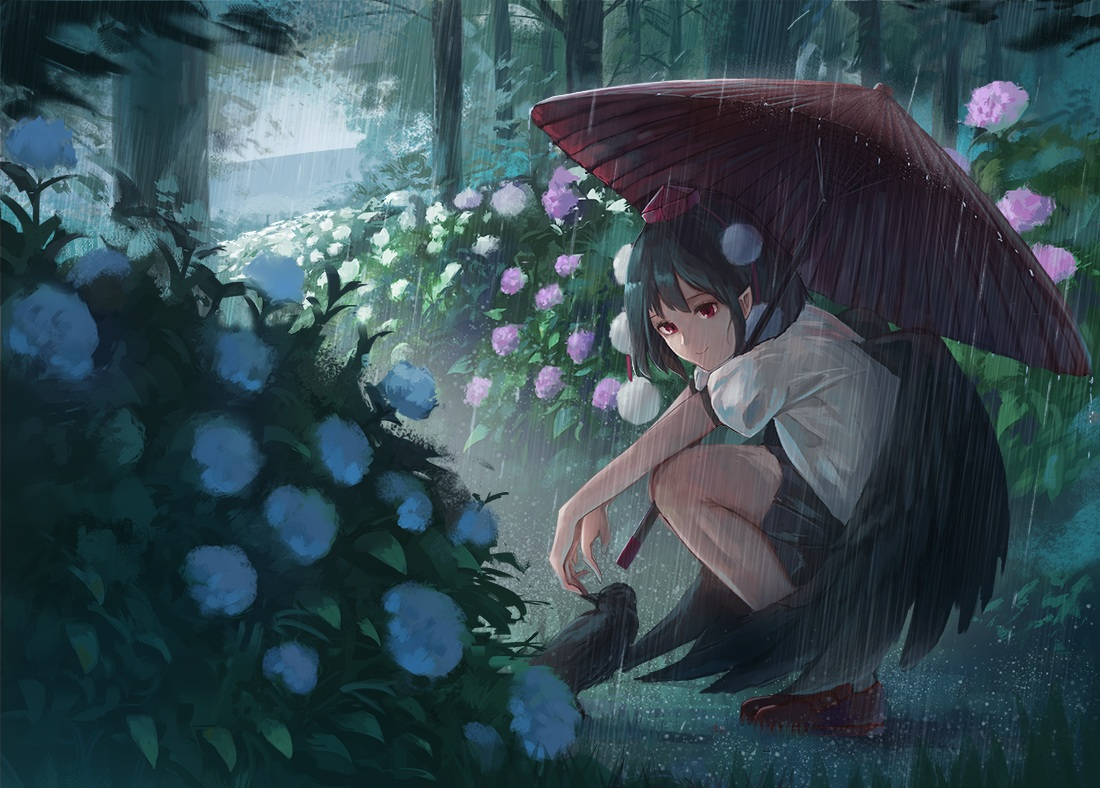 animal bird black_hair fjsmu flowers forest pointed_ears rain red_eyes shameimaru_aya short_hair skirt touhou tree umbrella water wings