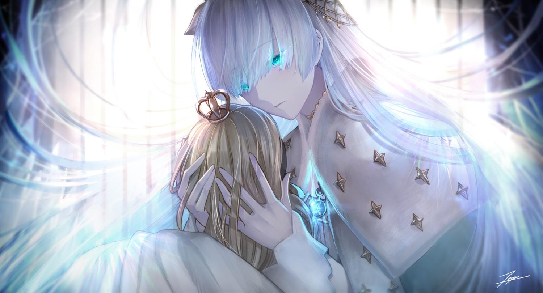 anastasia_(fate/grand_order) aqua_eyes cape doll fate/grand_order fate_(series) long_hair signed tenyo0819 white_hair
