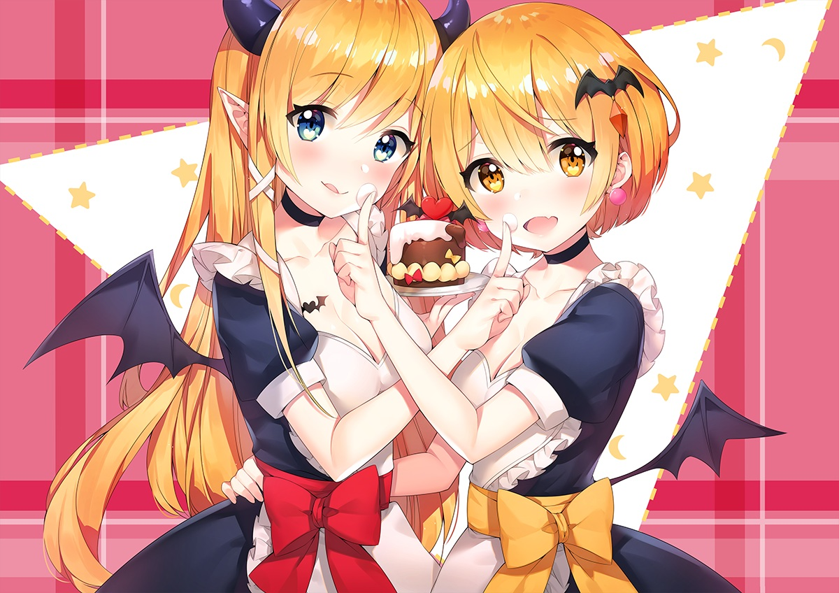 2girls apron ayamy blush bow breasts cake choker cleavage demon fang food green_eyes heart hololive horns long_hair maid mel_channel orange_eyes orange_hair pointed_ears short_hair succubus wings yozora_mel yuzuki_choco