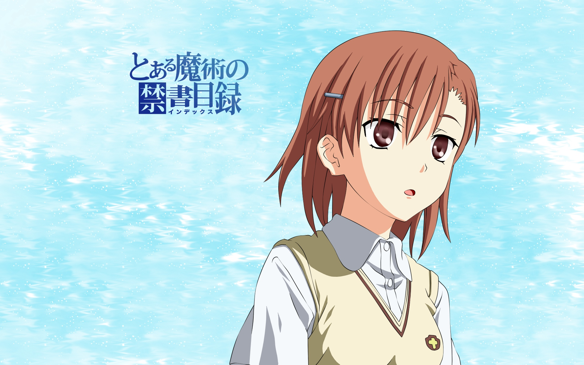 brown_eyes brown_hair misaka_mikoto school_uniform short_hair to_aru_majutsu_no_index vector water