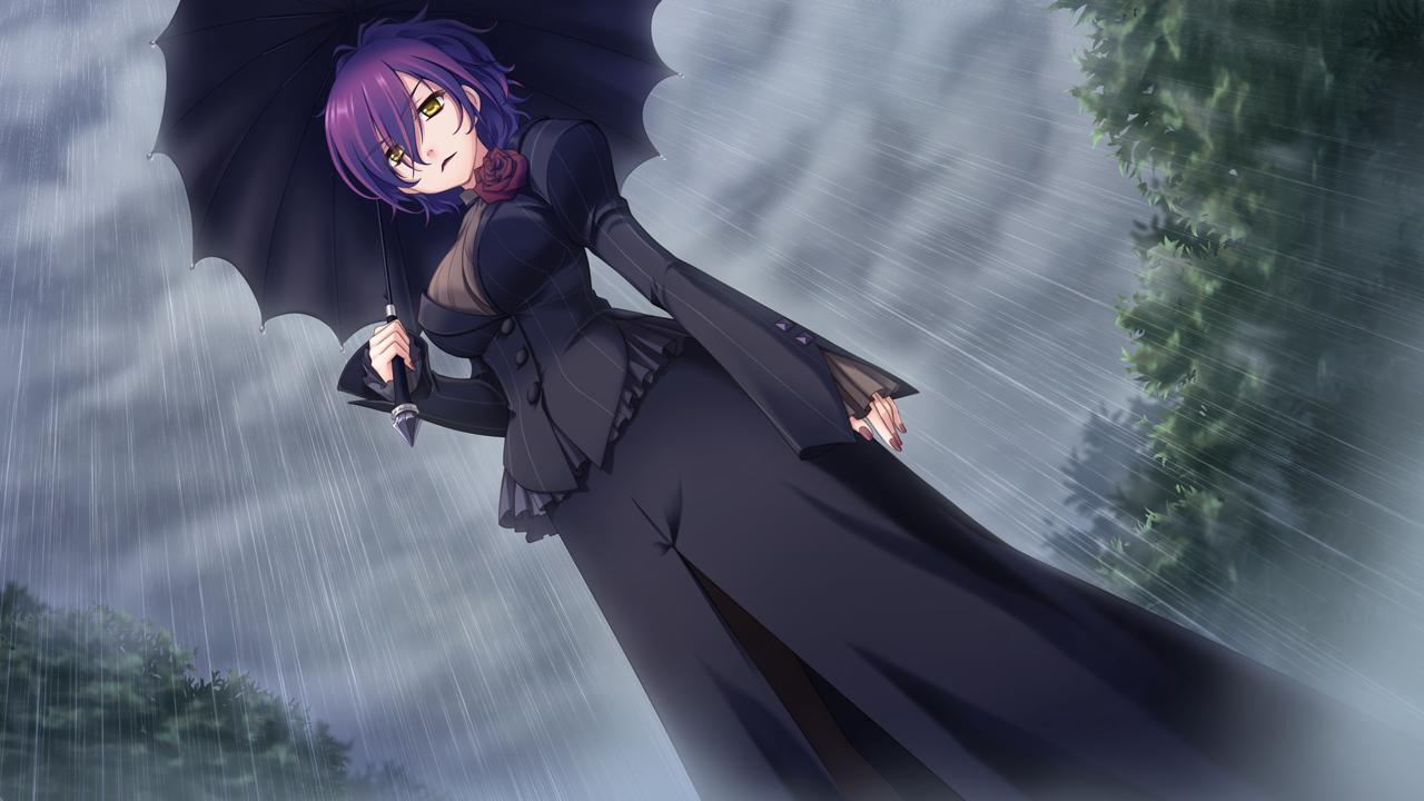astraythem game_cg ginta gothic nagi_kuurin purple_hair rain umbrella water