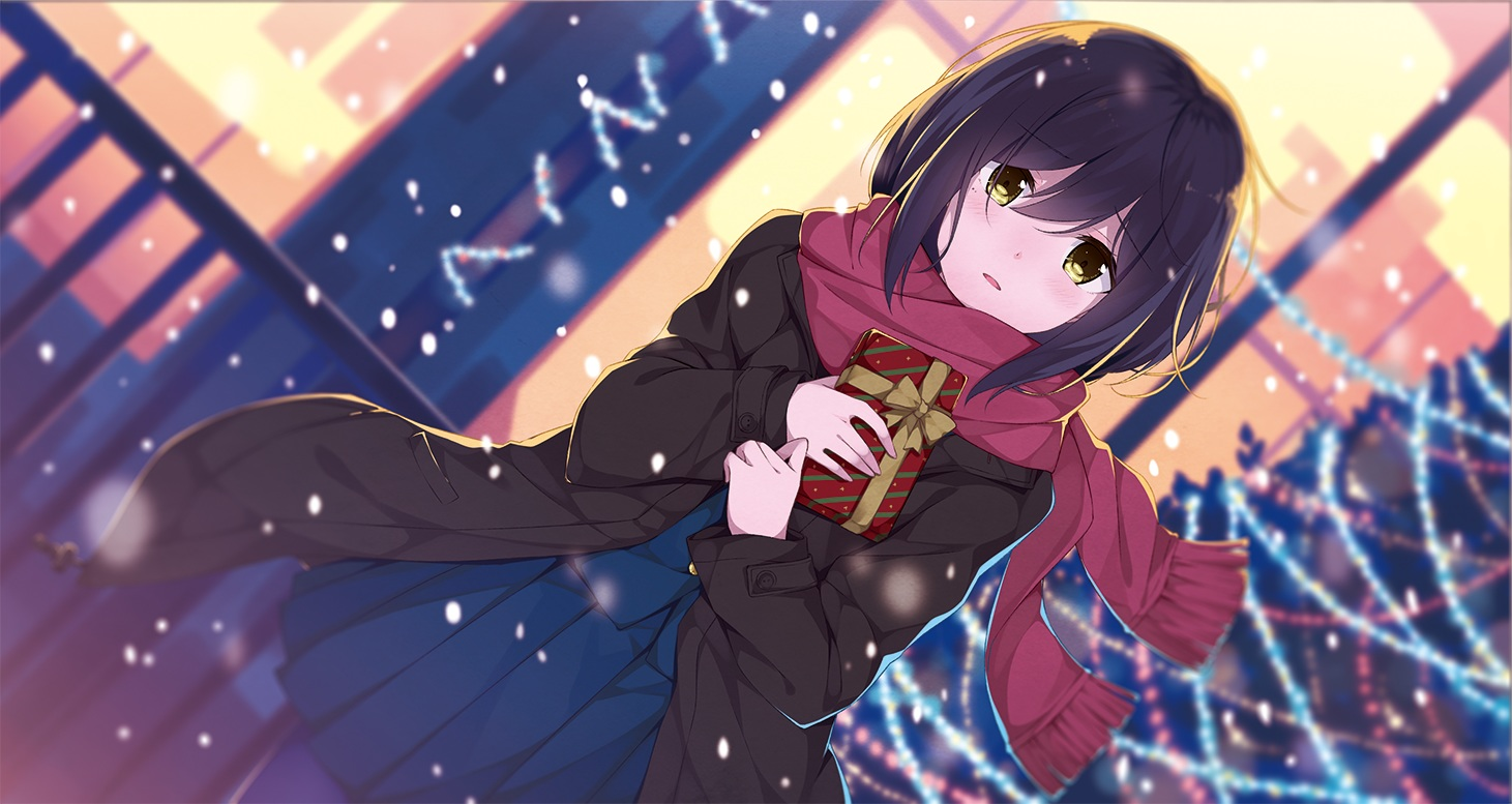 black_hair blush bow nijisanji pantyhose scarf school_uniform shizuka_rin skirt snow taiyaki_(artist) valentine yellow_eyes