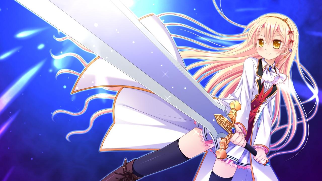 blonde_hair fiana_astraea game_cg headband hhg_megami_no_shuuen long_hair miyasu_risa sword thighhighs weapon windmill_(company) yellow_eyes