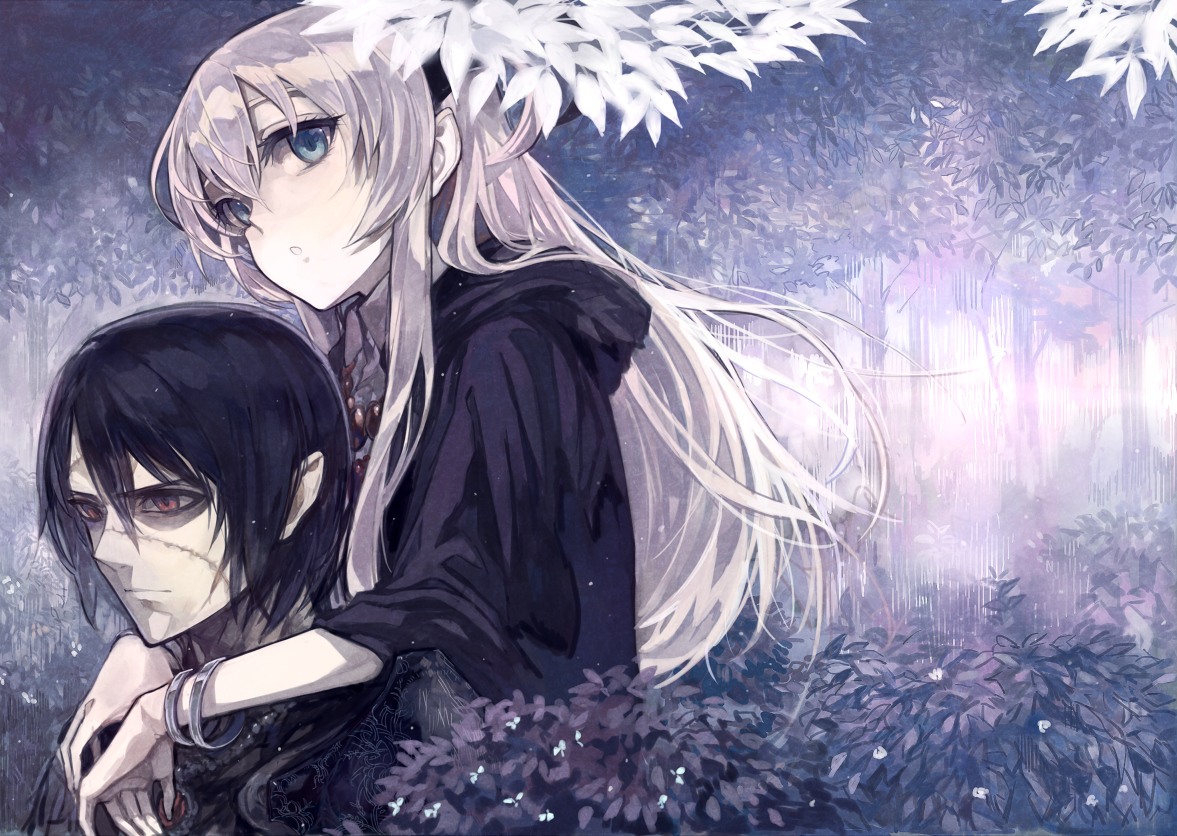 black_hair blue_eyes gray_hair hoodie long_hair male original red_eyes scar short_hair shrimpman tree