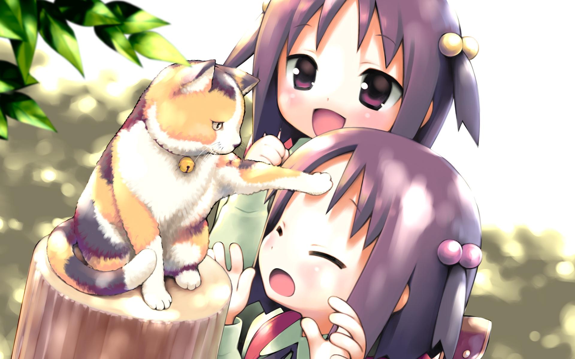 animal cat garden_(galge) gayarou kasuga_nadeshiko kasuga_sakurako twins