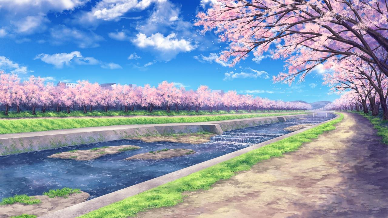 building cherry_blossoms clouds flowers game_cg grass koneko_neko_neko nobody psyche scenic sky skyfish water