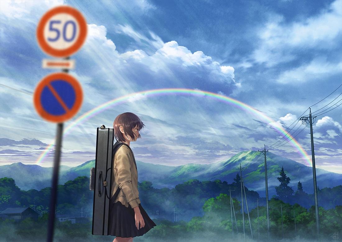brown_hair clouds instrument mocha_(cotton) original rainbow school_uniform short_hair signed skirt sky tree