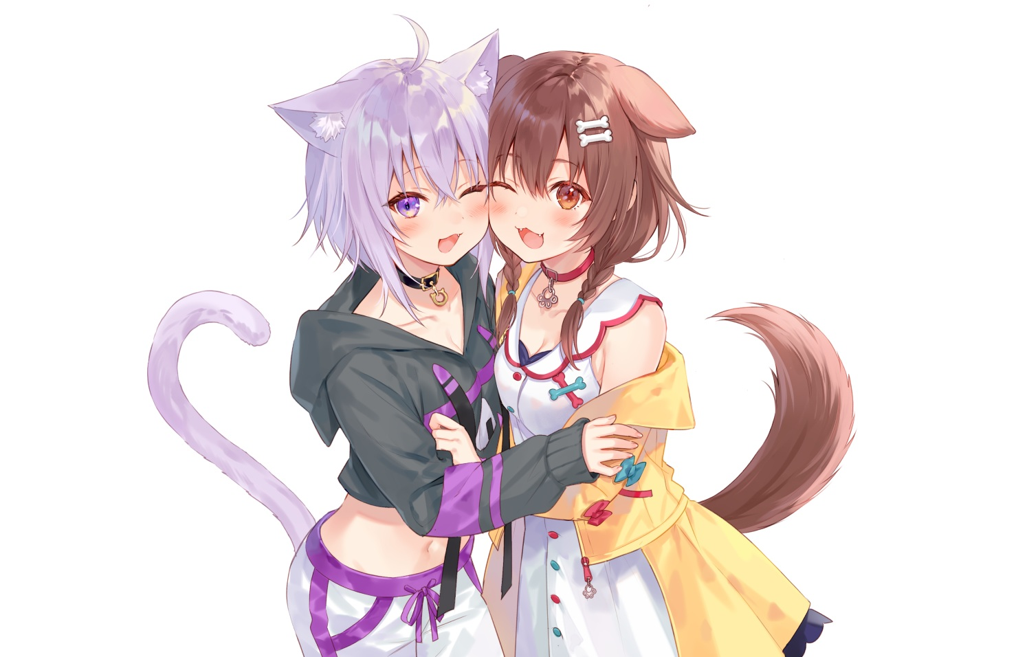 2girls animal_ears blush bow braids brown_eyes brown_hair catgirl cat_smile collar doggirl dress fang fukahire_sanba hololive hoodie hug inugami_korone navel nekomata_okayu purple_eyes purple_hair short_hair tail twintails white wink
