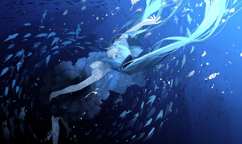 aliasing animal bubbles deep-sea_girl_(vocaloid) fish hatsune_miku underwater vocaloid water xiaonuo_(1906803064)